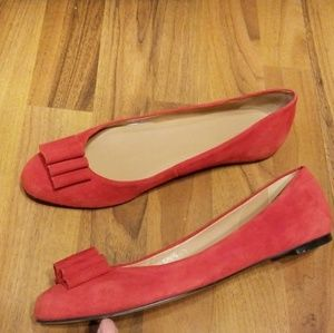 {Talbots} Red Suede Ballet Flats